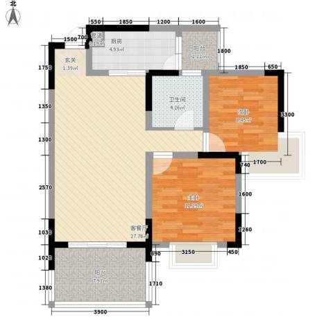 明园花园2室1厅1卫1厨97.00㎡户型图
