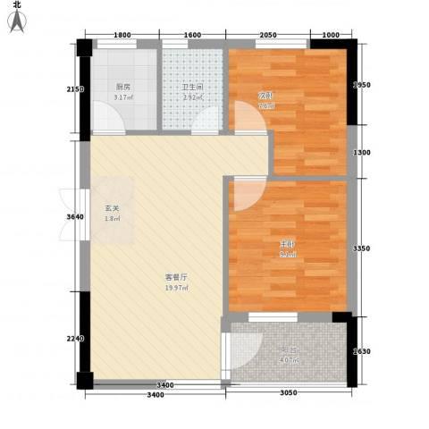 汇星名庭2室1厅1卫1厨66.00㎡户型图