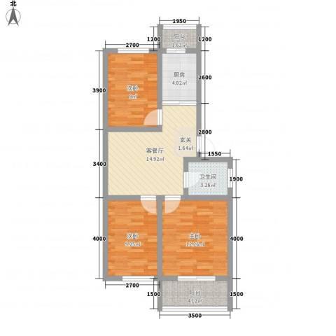 金美程家园3室1厅1卫1厨78.00㎡户型图