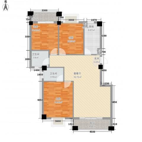 未来海岸系凌波3室1厅2卫1厨114.00㎡户型图