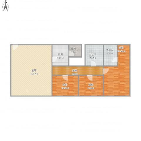 顺联新城花园3室1厅2卫1厨122.11㎡户型图