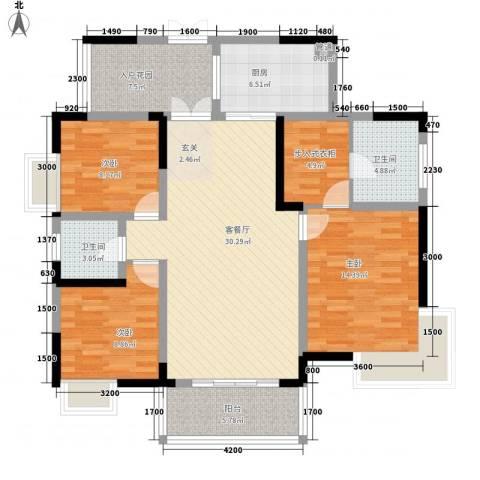 佳华世纪新城D区3室1厅2卫1厨123.00㎡户型图