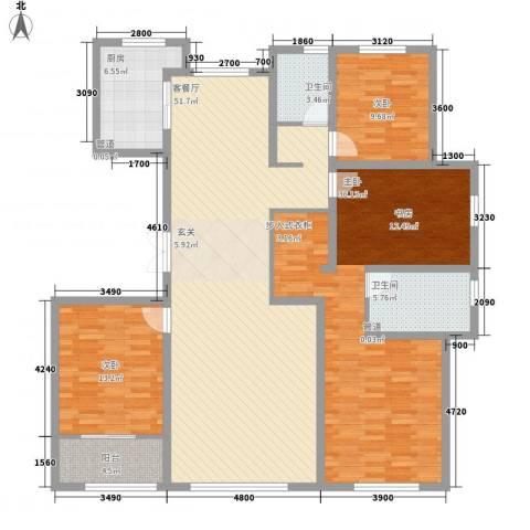花栖左岸3室1厅2卫1厨185.00㎡户型图