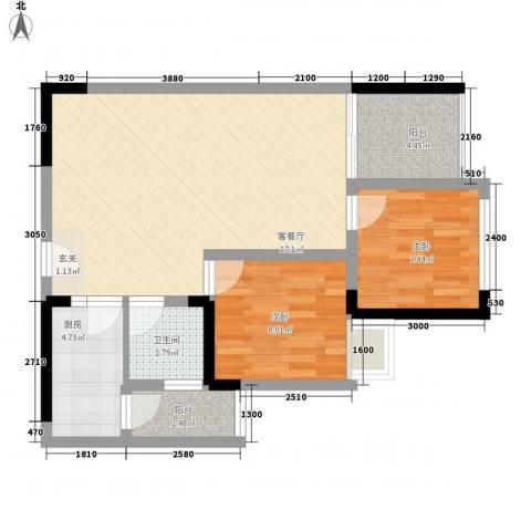 南湖明珠2室1厅1卫1厨83.00㎡户型图