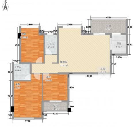 双狮山港务宿舍3室1厅2卫1厨138.00㎡户型图