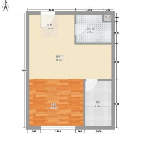 金坐标1厅1卫1厨66.00㎡户型图
