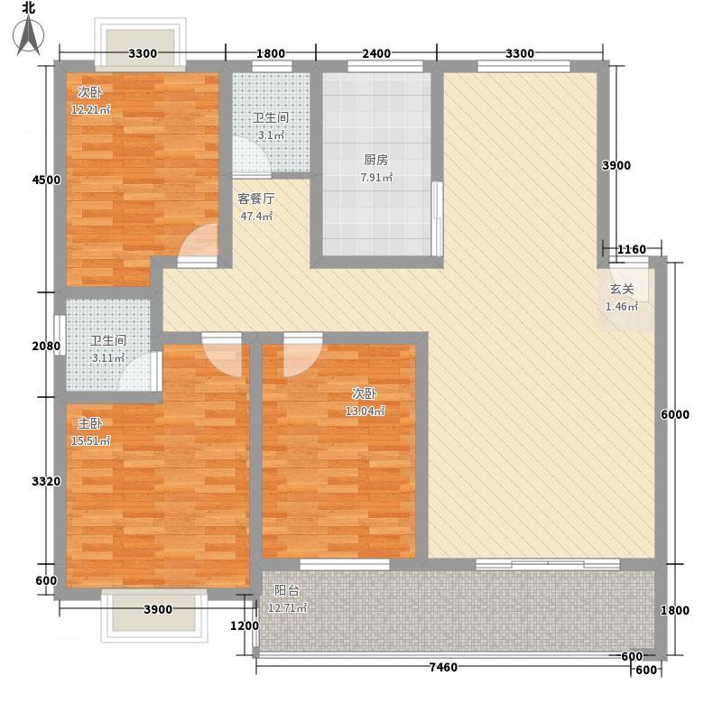 大川花园152.00㎡户型3室