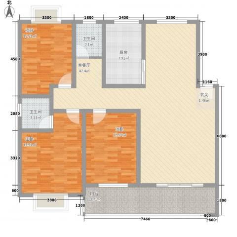 大川花园3室1厅2卫1厨130.72㎡户型图