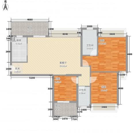 裕景新城3室1厅2卫1厨112.50㎡户型图