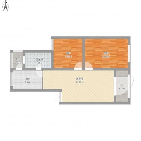 新明星花园一期2室1厅1卫1厨88.00㎡户型图