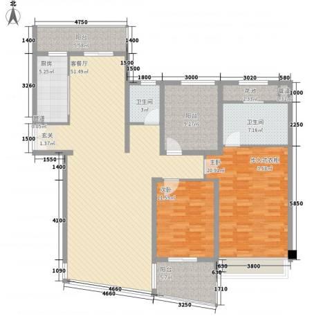 第二城闽南印象2室1厅2卫1厨173.00㎡户型图