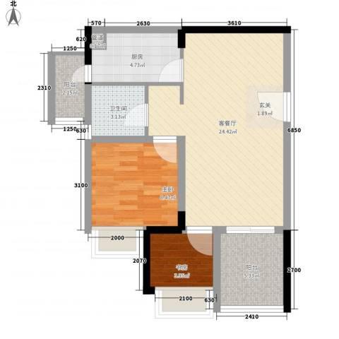 山水一舍(中铁)2室1厅1卫1厨76.00㎡户型图