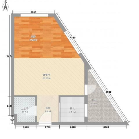 金坐标1厅1卫1厨65.00㎡户型图