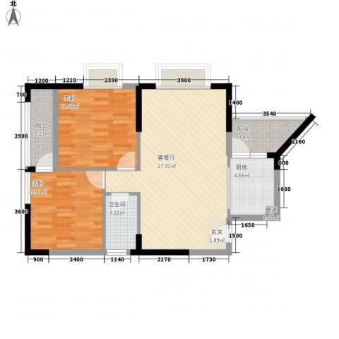 第二城闽南印象2室1厅1卫1厨91.00㎡户型图