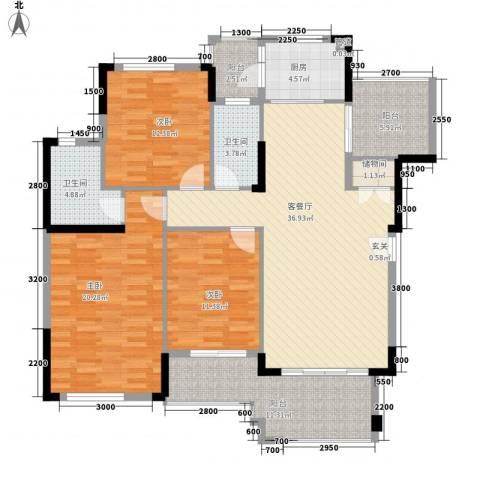 富力盈溪谷3室1厅2卫1厨130.00㎡户型图