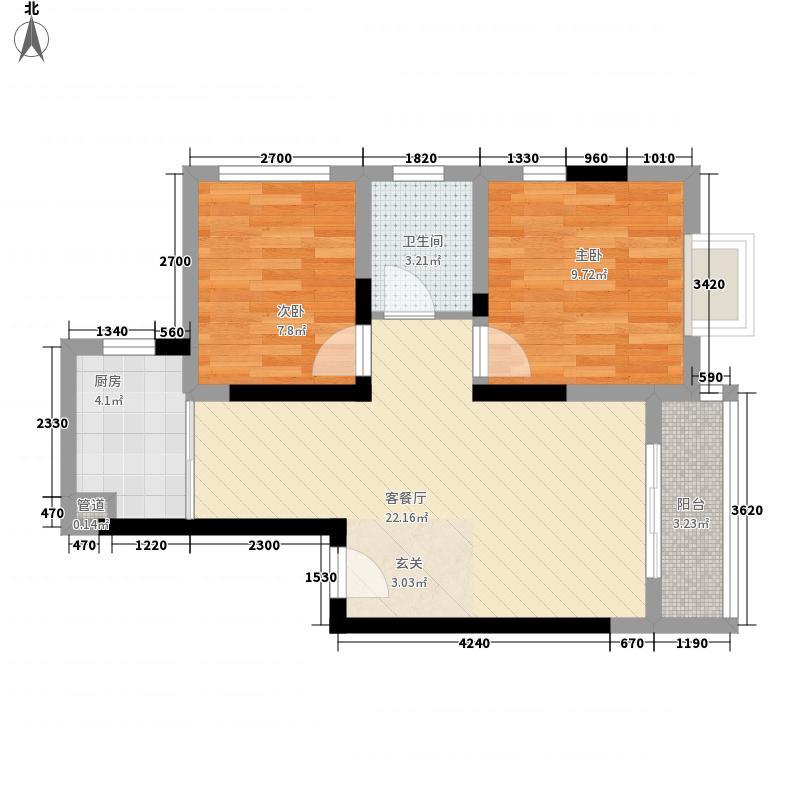 杏花71.00㎡小区户型2室