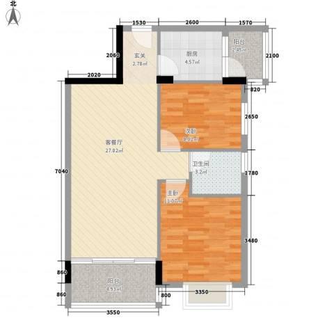 龙日花苑三期2室1厅1卫1厨77.00㎡户型图