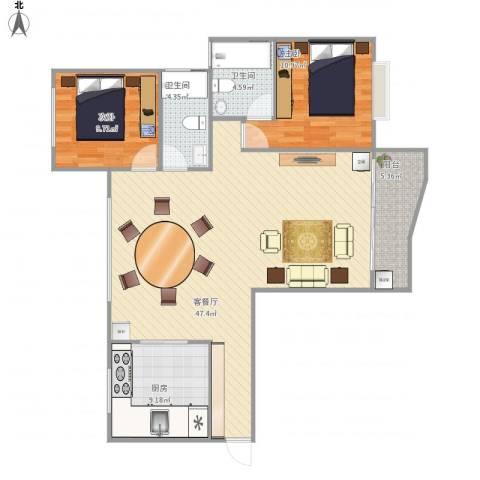 东方花园2室1厅2卫1厨120.00㎡户型图