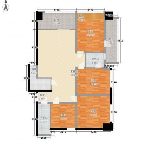 金烨融府4室1厅2卫1厨170.00㎡户型图