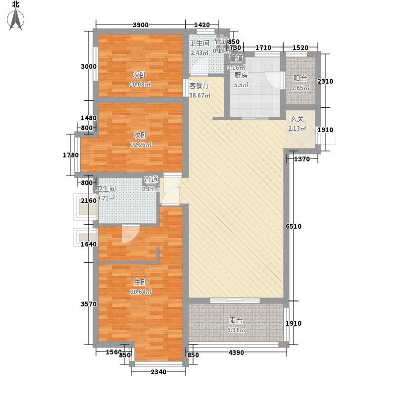万科・学府125.70㎡紫檀F1户型3室2厅2卫1厨