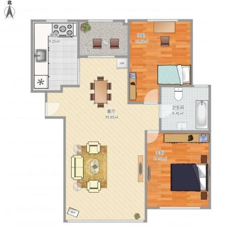 康馨壹品2室1厅1卫1厨117.00㎡户型图