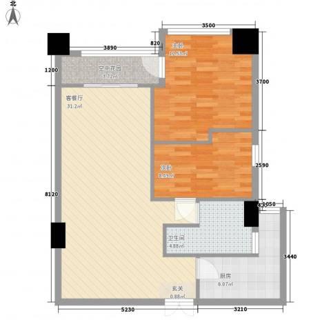 金烨融府2室1厅1卫1厨92.00㎡户型图