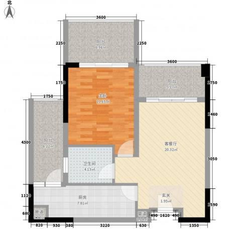 惠州雅居乐白鹭湖1室1厅1卫1厨85.00㎡户型图
