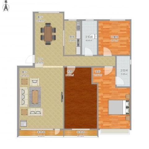 保利溪湖林语四期3室1厅2卫1厨140.00㎡户型图