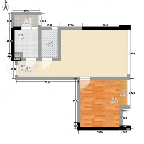 我平方1室1厅1卫1厨49.00㎡户型图