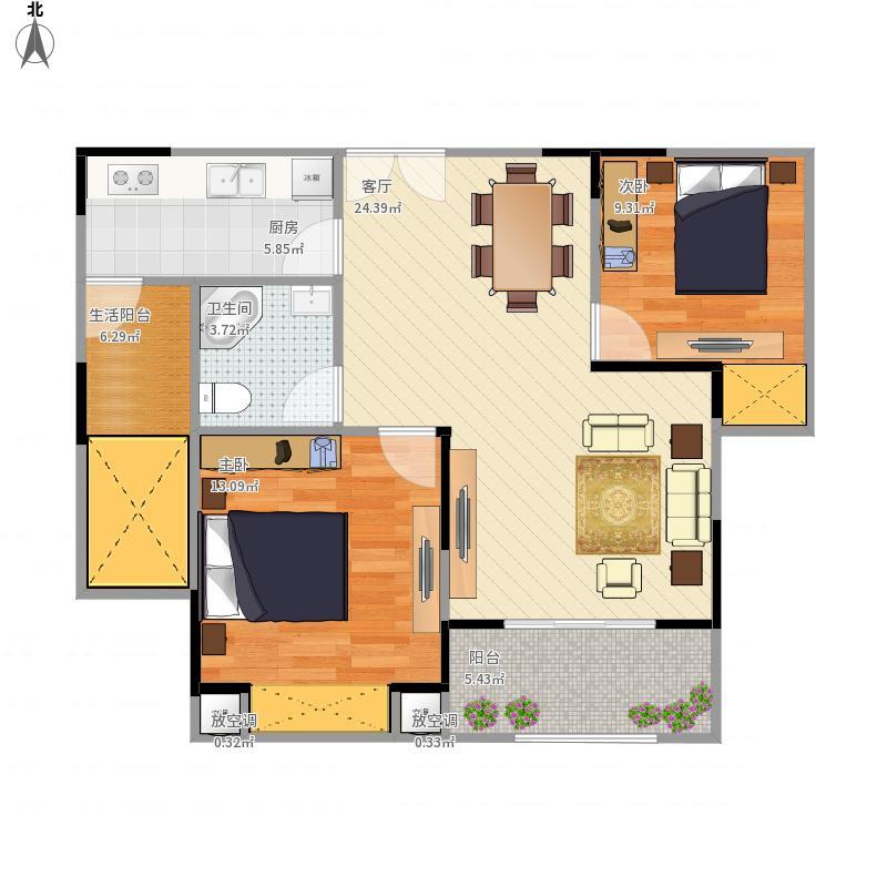 隆鑫,花漾城D3两室两厅一卫