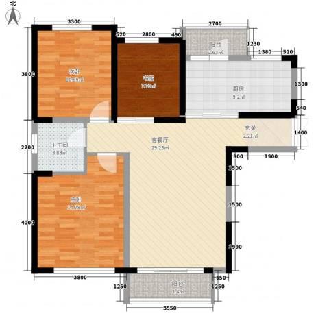 豪业圣迪广场3室1厅1卫1厨118.00㎡户型图