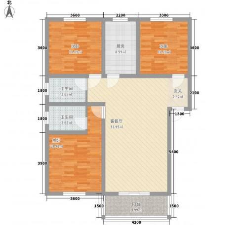 必利达大厦3室1厅2卫1厨125.00㎡户型图
