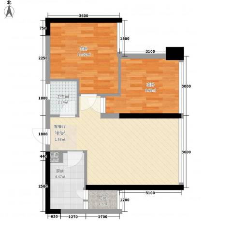 我平方2室1厅1卫1厨54.00㎡户型图