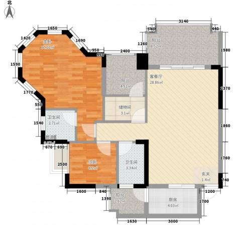 金海岸花园2室1厅2卫1厨116.00㎡户型图