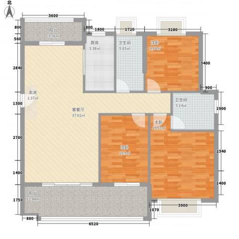 财经大学电建家属院3室1厅2卫1厨147.00㎡户型图
