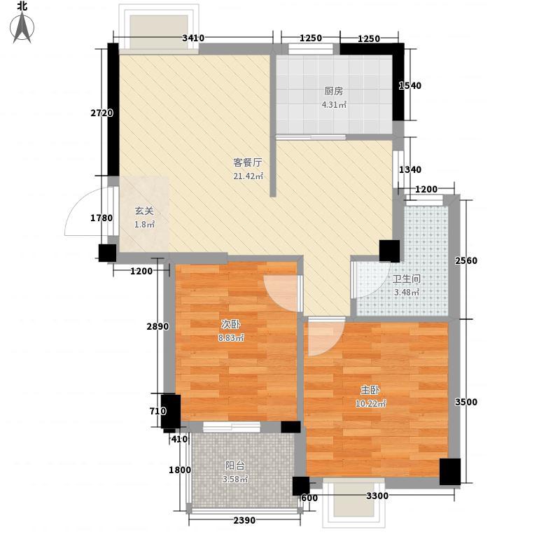 汉景嘉园75.00㎡E户型2室2厅1卫1厨
