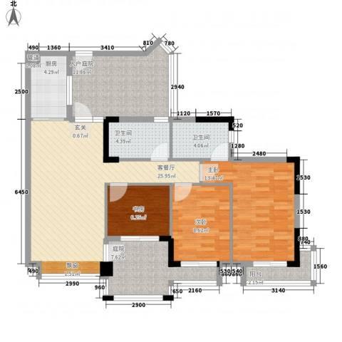 长裕棕榈园3室1厅2卫1厨128.00㎡户型图