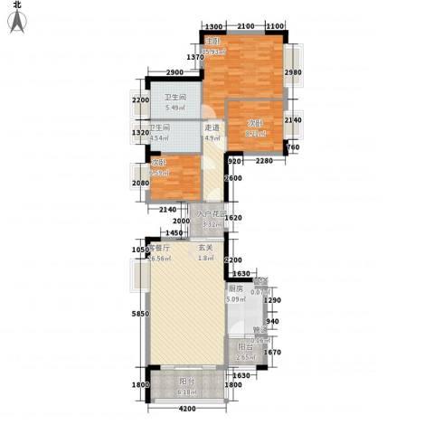滨江花园3室1厅2卫1厨118.00㎡户型图