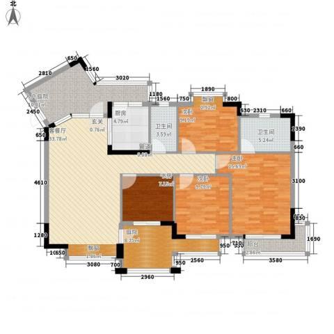 长裕棕榈园4室1厅2卫1厨159.00㎡户型图