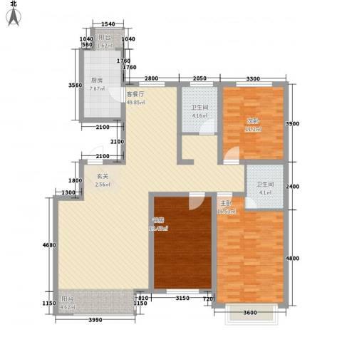 公安家属楼3室1厅2卫1厨151.00㎡户型图