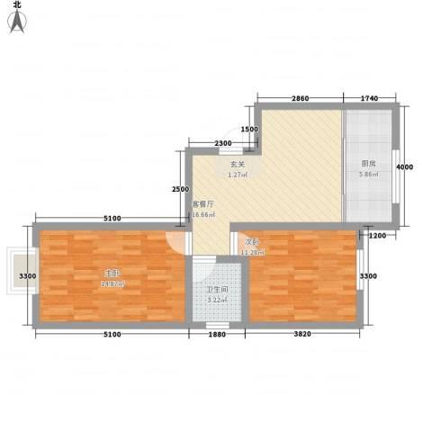 公安家属楼2室1厅1卫1厨75.00㎡户型图