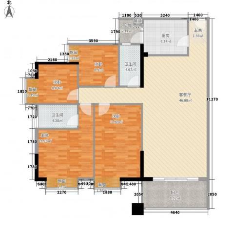 珠江旭景熙苑4室1厅2卫1厨170.00㎡户型图