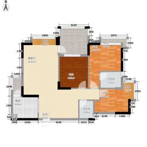 长裕棕榈园3室1厅2卫1厨122.00㎡户型图