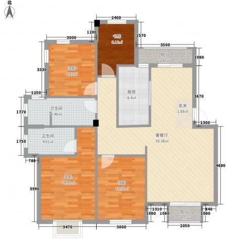 滨海龙湾4室1厅2卫1厨137.00㎡户型图