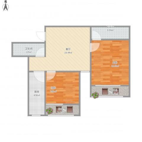 龙岱花园2室1厅2卫1厨73.00㎡户型图