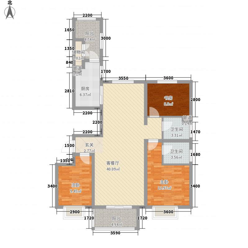 红旗街万达广场138.40㎡3#2户型3室2厅2卫1厨