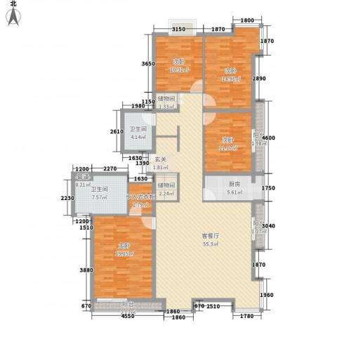 当代名筑4室1厅2卫1厨140.07㎡户型图