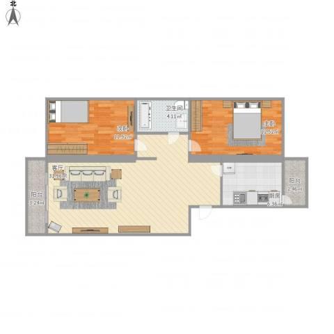 顺泰公寓2室1厅1卫1厨101.00㎡户型图