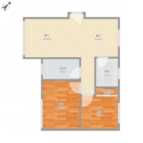 四方新城-06-030B2室1厅1卫1厨60.00㎡户型图