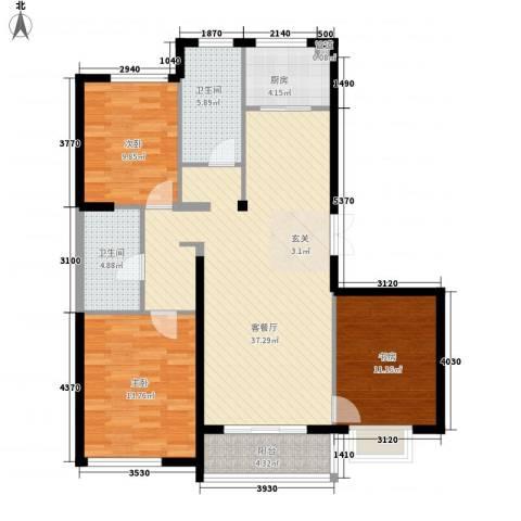 东亚国际城3室1厅2卫1厨129.00㎡户型图